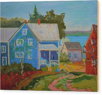 Wood Print featuring the painting Lubec Village by Francine Frank