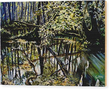 Lubianka-4 Mystery Of Swamp Forest Wood Print by Henryk Gorecki