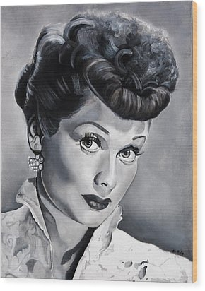 Lucille Ball Wood Print by Brian Broadway
