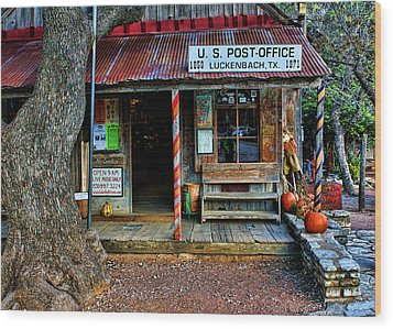 Luckenbach Texas Wood Print by Judy Vincent