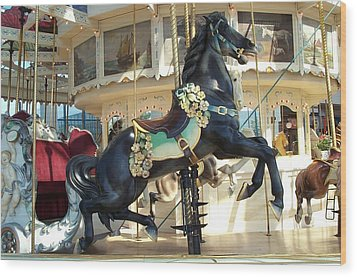 Wood Print featuring the photograph Lucky Black Pony - Syracuse Ptc No 18 by Barbara McDevitt