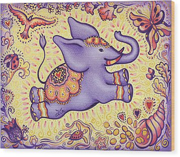 Lucky Elephant Purple Wood Print by Judith Grzimek
