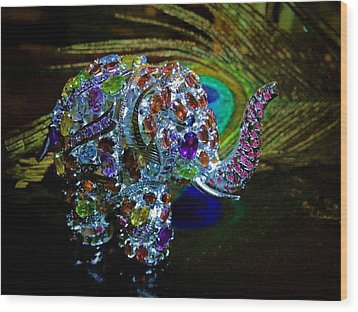 Lucky Jeweled Elephant Wood Print by Susan Maxwell Schmidt