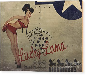 Lucky Lana Noseart Wood Print by Cinema Photography