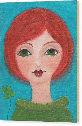 Wood Print featuring the painting Lucky by Lisa Noneman