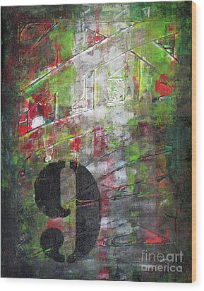 Lucky Number 9 Green Red Grey Black Abstract By Chakramoon Wood Print by Belinda Capol