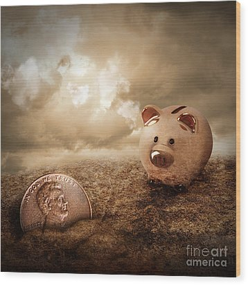 Lucky Piggy Bank Finds Lost Penny In Dirt Wood Print by Angela Waye