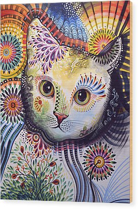 Lucy ... Abstract Cat Art Wood Print by Amy Giacomelli