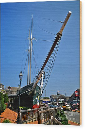 Lucy Evelyn At Schooner's Wharf Wood Print by Mark Miller