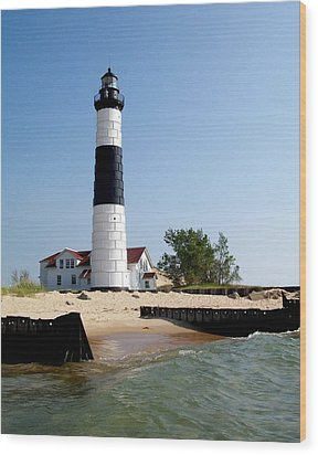 Ludington Michigan's Big Sable Lighthouse Wood Print by Michelle Calkins