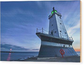 Ludington North Breakwater Lighthouse Wood Print by Sebastian Musial