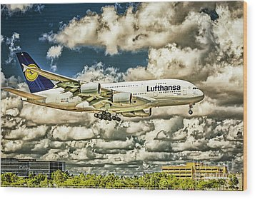 Lost In The Clouds Lufthansa A380 Named Hamburg-colorized Abstract Wood Print