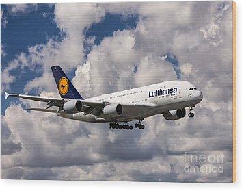 Lufthansa A380 Hamburg Wood Print
