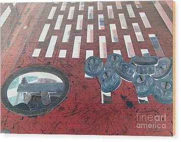 Lug Nuts On Grate And Circle H Wood Print by Heather Kirk