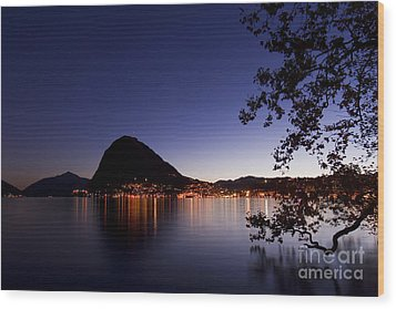 Lugano By Night Wood Print
