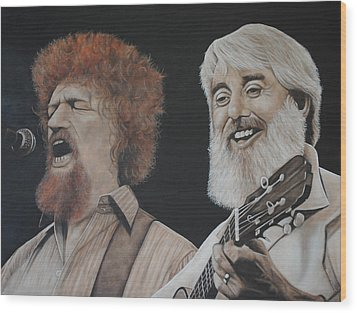 Luke Kelly And Ronnie Drew Wood Print by David Dunne