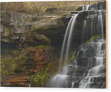 Luke Scripture Waterfall Wood Print