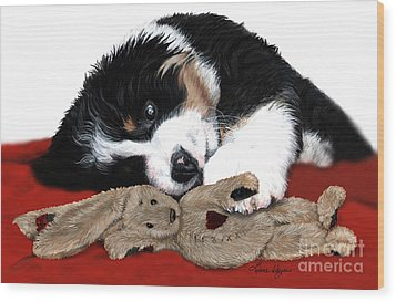 Lullaby Berner And Bunny Wood Print by Liane Weyers