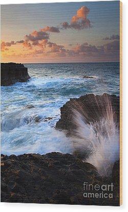 Lumahai Sea Explosion Wood Print by Mike  Dawson