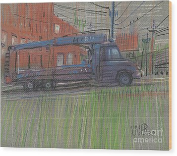Wood Print featuring the painting Lumber Truck by Donald Maier