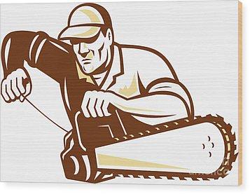 Lumberjack Tree Surgeon Arborist Chainsaw Wood Print by Aloysius Patrimonio