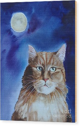 Lunar Cat Wood Print by Kym Stine