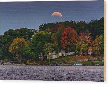 Lunar Eclipse Over Pewaukee Lake Wood Print
