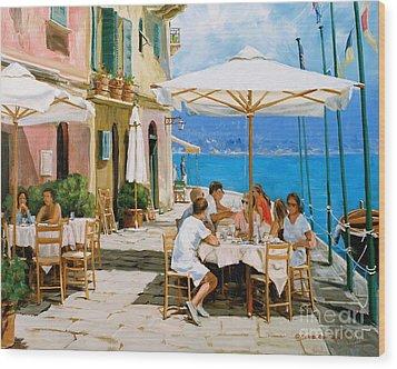 Lunch In Portofino Wood Print by Michael Swanson