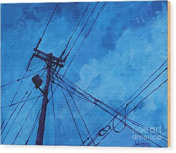 Lunchtime Telephone Pole Wood Print