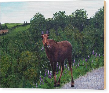Wood Print featuring the painting Lupine Loving Moose by Barbara Griffin