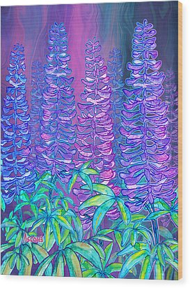Wood Print featuring the mixed media Lupines by Teresa Ascone
