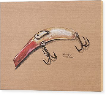 Wood Print featuring the drawing Lure by Aaron Spong