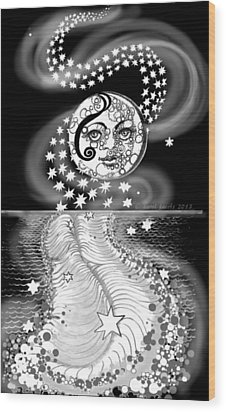 Wood Print featuring the digital art Lure Of Moonlight by Carol Jacobs