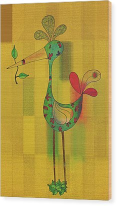 Lutgarde's Bird - 061109106y Wood Print by Variance Collections