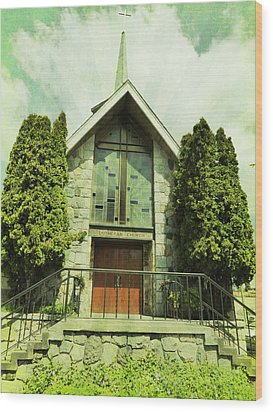 Wood Print featuring the photograph Lutheran Church by Laurie Tsemak