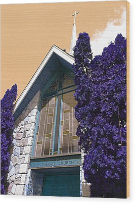 Wood Print featuring the photograph Lutheran Church Steeple by Laurie Tsemak