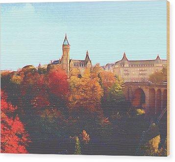 Luxembourg City Skyline Wood Print