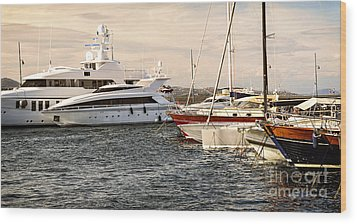Luxury Boats At St.tropez Wood Print by Elena Elisseeva