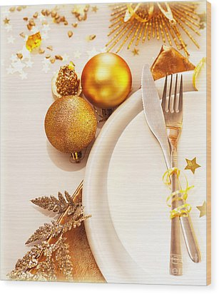 Luxury Christmas Table Setting Wood Print by Anna Om