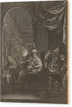 Lycaon Metamorphosed Into A Wolf, 1731 Wood Print by Bernard Picart