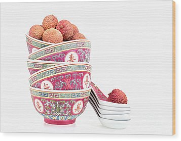 Lychees In Bowls With Spoons Wood Print by Jane Rix