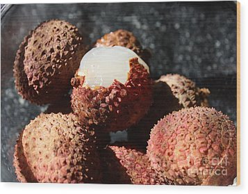 Lychees Wood Print by Julie Alison