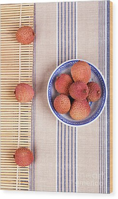 Lychess With Bamboo Mat Wood Print by Jane Rix