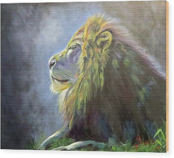 Lying In The Moonlight, Lion Wood Print