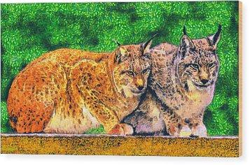 Lynx Wood Print by George Rossidis