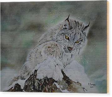 Lynx Playing With Snow Wood Print by Hendrik Hermans