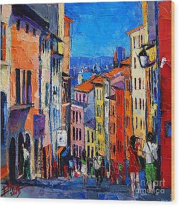Lyon Colorful Cityscape Wood Print by Mona Edulesco