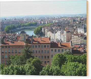 Lyon From Above Wood Print by Dany Lison