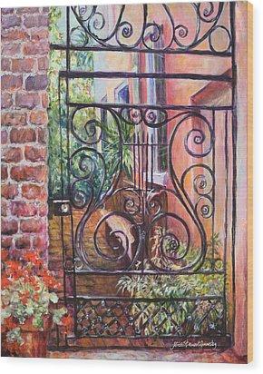 Lyrical Gate Wood Print by Alice Grimsley