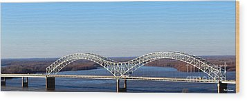 Wood Print featuring the photograph M Bridge Memphis Tennessee by Barbara Chichester
